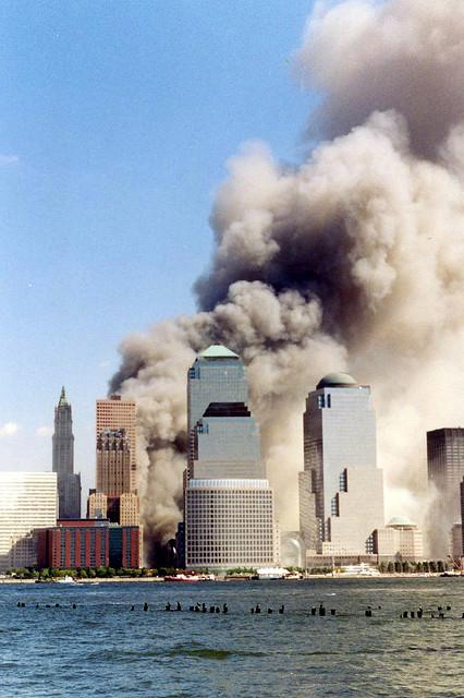 Catástrofe del World Trade Center,Septiembre 11, 2001, visto desde Jersey City. Foto: Wally Gobetz