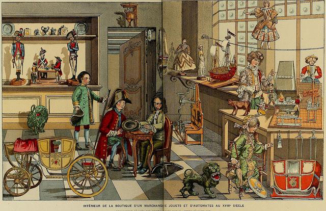 Interior de una tieda de juguetes en el siglo XVIII-Histoire des jouets….1902- Henry René d' Allemagne. Foto:Cesar Ojeda